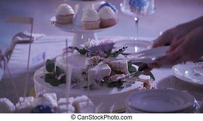 Bride takes piece of wedding cake - Bride takes piece of...