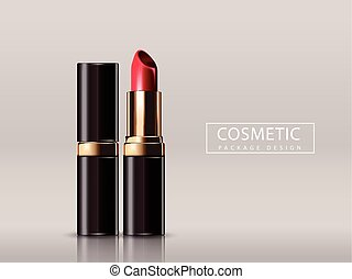Red lipstick mockup, cosmetic package design in 3d...