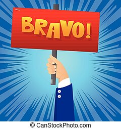 Hand holding Bravo sign. - Vector illustrated cartoon hand...