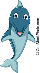 cute dolphin cartoon jumping - vector illustration of cute...
