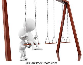 3D White people on the swing.