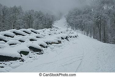 North slope Aibga Ridge Western Caucasus at ski resort Gorky...