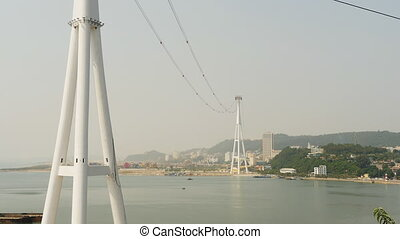 Cableway in Ha Long City and Panarama city. (Shot in Full HD...