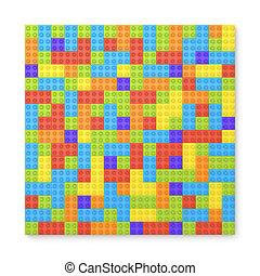 3d rendering of many toy blocks in different colors making...
