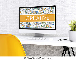 3d Computer with word CREATIVE.
