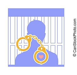 concept of human innocence as a human silhouette behind bars...