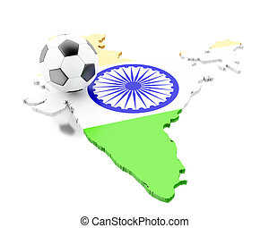 3d India map with football soccer - 3d renderer image. India...