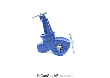Mechanical hand vise clamp on isolated white