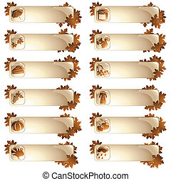 Set of 12 autumnal labels - Collection of high-gloss...