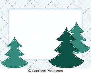 Quilted winter card with evergreens