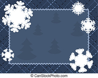Quilted winter card with snowflakes - Cute seasonal postcard...