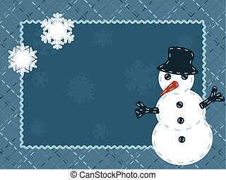 Quilted winter card with a snowman - Cute seasonal postcard...