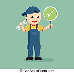 mechanic with checklist sign indicate success repair