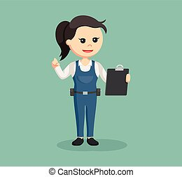 female mechanic with clipboard