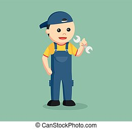 mechanic holding wrench illustration design