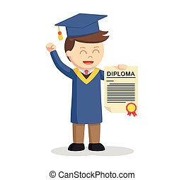 graduate male student showing his diploma