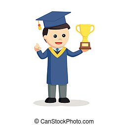 graduate male student with trophy
