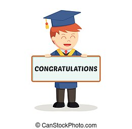 graduate male student with congratulations sign