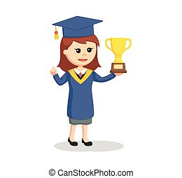 graduate female student with trophy