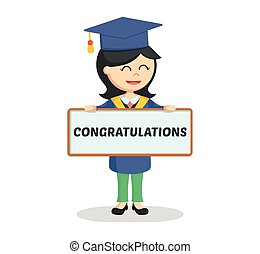 graduate female student with congratulation sign