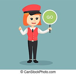 female valet with go sign