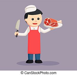 butcher man with meat