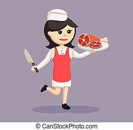 butcher woman with meat