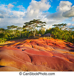 Seven colour earth. Mauritius. - View of the seven colour...