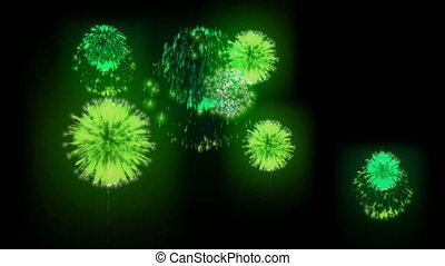 4K firework background. colorful fireckrackers at holiday night. version 21.