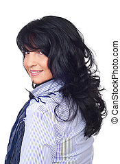 Hairstyle brunette woman - Smiling business woman with...