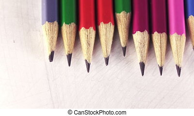 Color pencils in a row