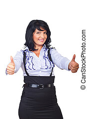 Business woman giving thumbs up - Beautiful modern business...