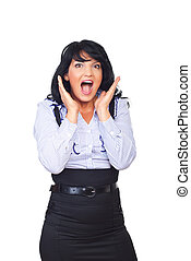 Surprised business woman shouting - Surprised business woman...