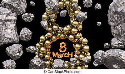 8 March symbol. Figure of eight made of golden spheres flying in the space with asteroids. Can be used as a decorative greeting grungy or postcard for international Woman's Day. 3d illustration