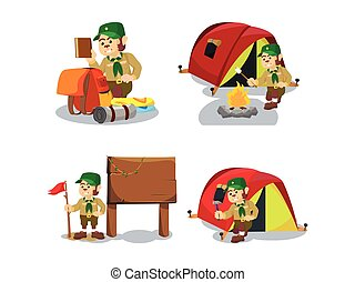 monkey scout cartoon set