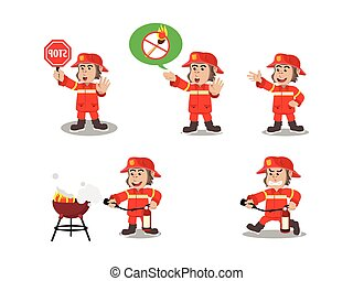 gorilla fire fighter cartoon set