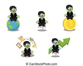 zombie businessman meditating cartoon set