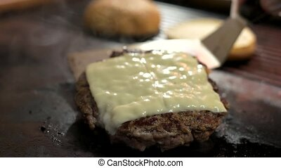 Patty with cheese. Cooked meat on oven pan. Cheddar and...