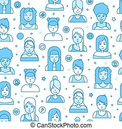 Linear Flat people faces vector seamless pattern. Social...