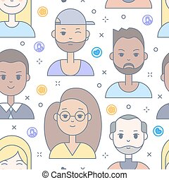 Linear Flat people faces vector seamless pattern. - Linear...