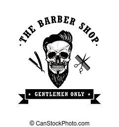 Skull Vintage Barber Shop Logo Design Template Vector Illustration