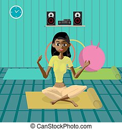 Young beautiful afro woman sitting in yoga pose in the gym....