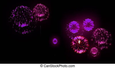 4K firework background. colorful fireckrackers at holiday night. different animation. version 6.