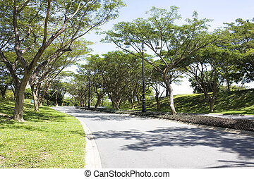 Landscaped Road, Brunei - Image of a tree lined landscaped...