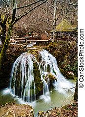 beautiful waterfall in Romania. waterfall Bigar