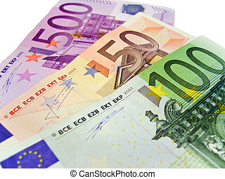 Banknotes - Euro - Banknotes 50, 100, 500 euros, isolated on...