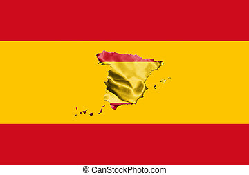 Spanish National Flag With Map Of Spain On It 3D...