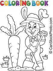 Coloring book rabbit gardener theme 1 - Coloring book rabbit...