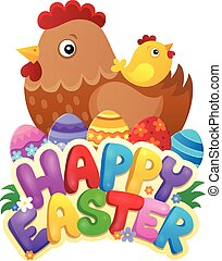 Happy Easter sign with hen and chicken -  illustration.