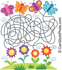 Maze 24 with butterflies and flowers - eps10 vector...
